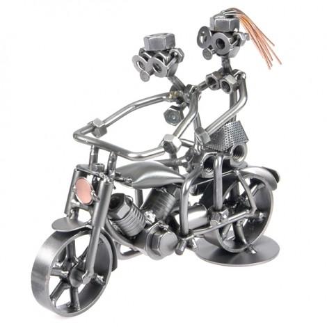 Zwei Schraubenmännchen auf einem Motorrad